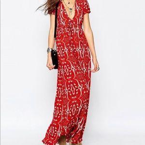 GLAMOROUS red paisley print maxi dress